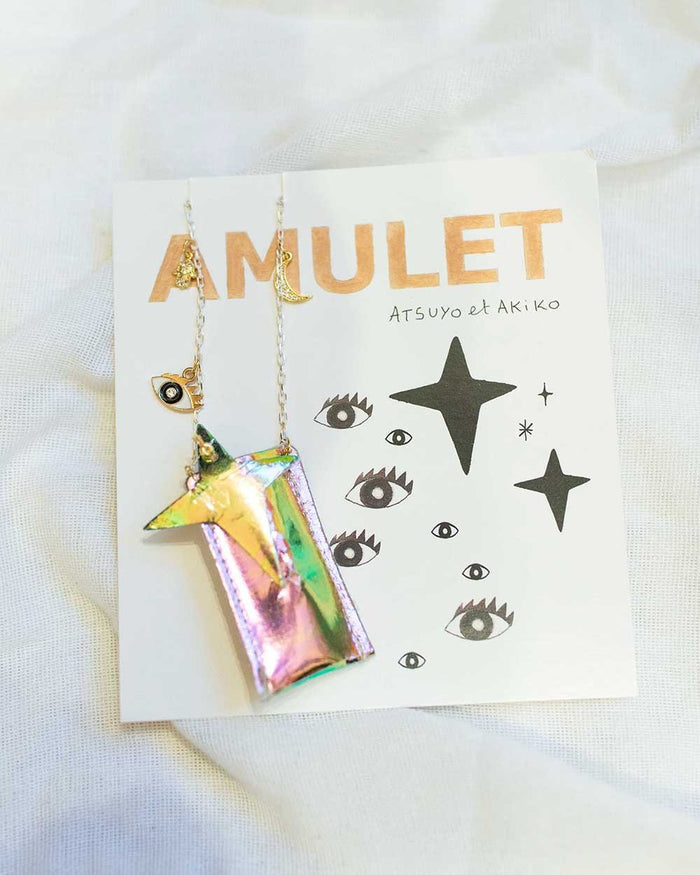 Little atsuyo et akiko accessories amulet crystal necklace in foil slik