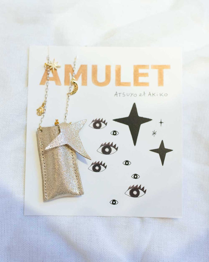Little atsuyo et akiko accessories amulet crystal necklace in sparkle champagne