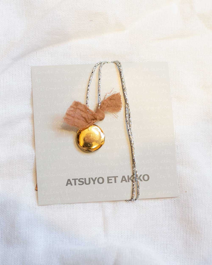 Little atsuyo et akiko accessories golden locket necklace in silver