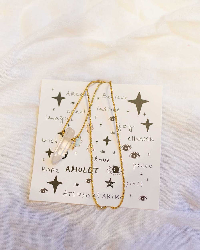 Little atsuyo et akiko accessories hamsa crystal necklace in gold