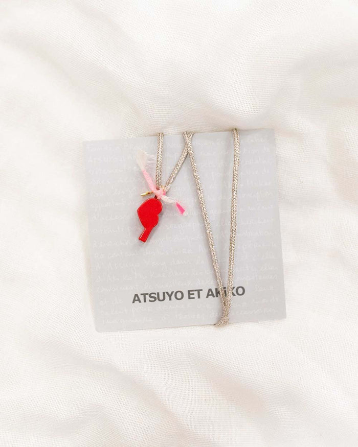 Little atsuyo et akiko accessories heart whistle necklace in red