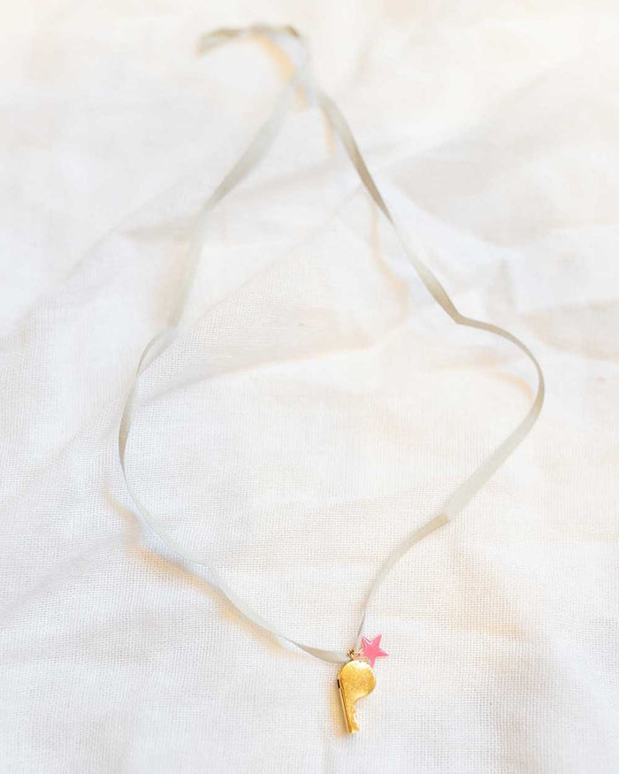 Little atsuyo et akiko accessories pink star whistle ribbon necklace
