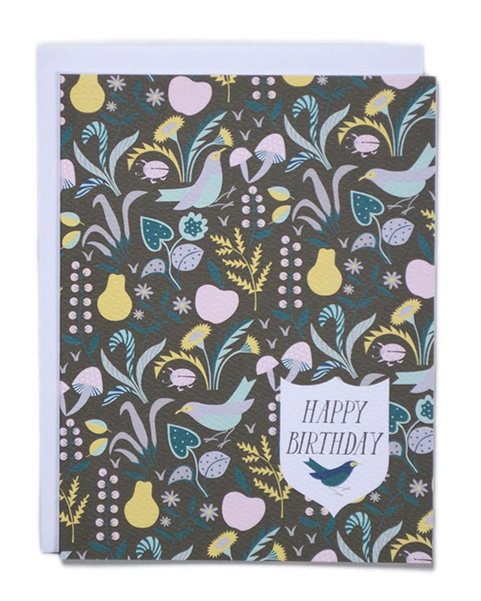 Little banquet atelier + workshop paper+party Happy Birthday Card — Meadow