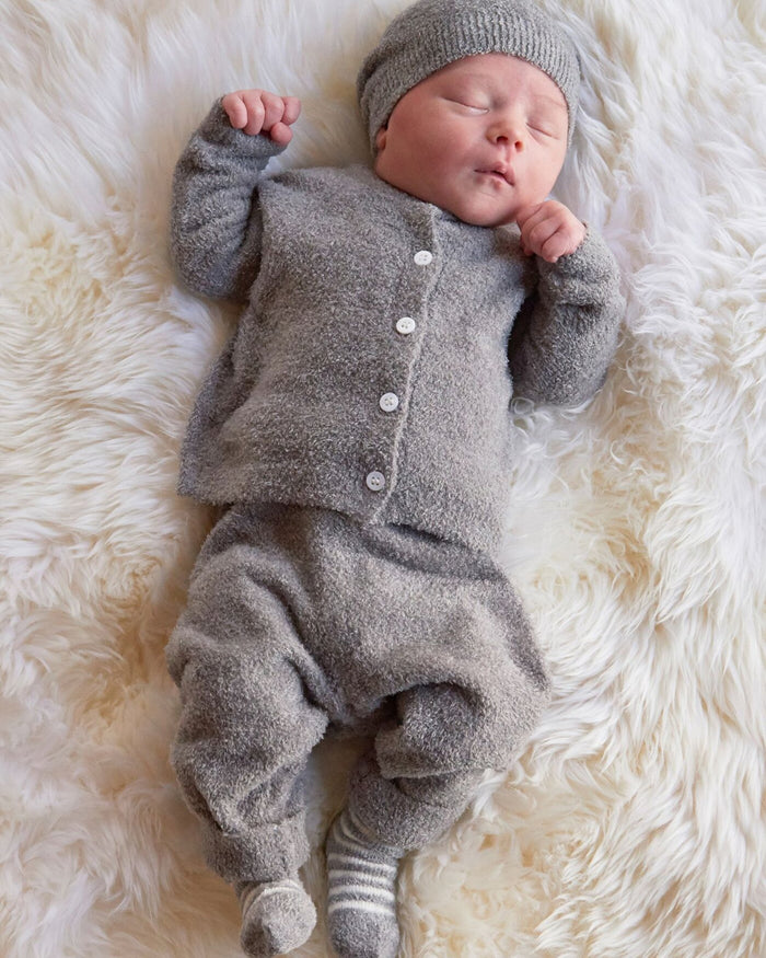 Little barefoot dreams baby boy xs cozy chic classic infant set in pewter