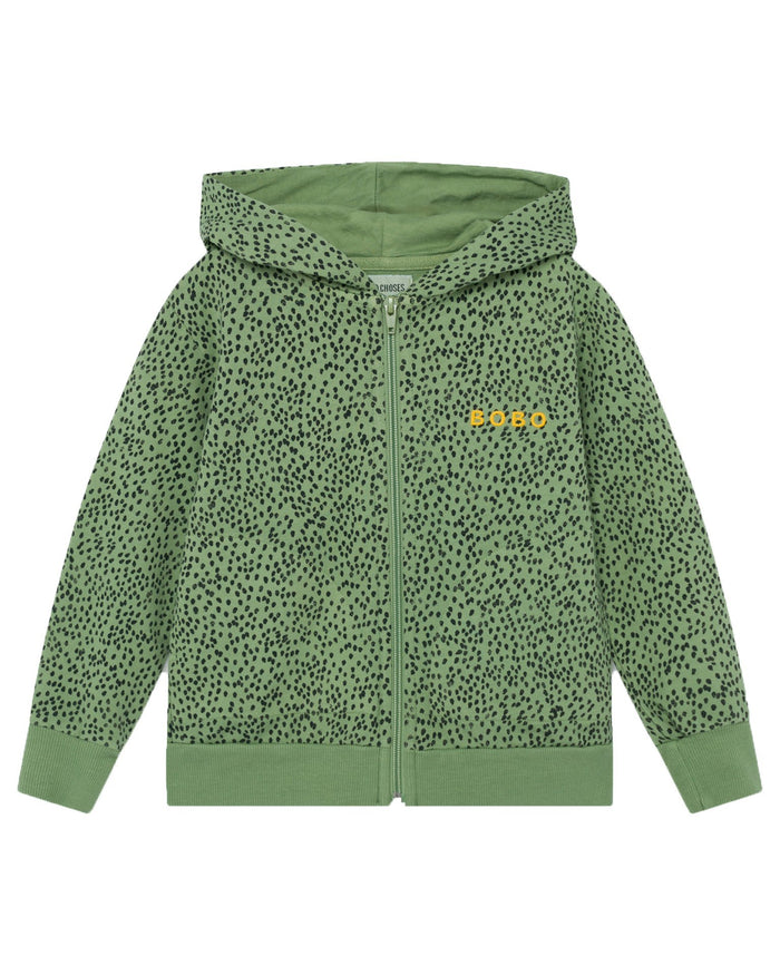 Little bobo choses boy all over leopard zipped hoodie