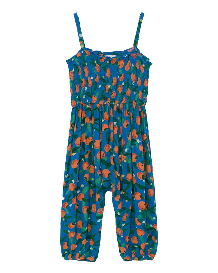 Little bobo choses baby girl all over oranges smocked baby overall