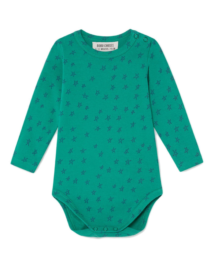 Little bobo choses baby boy all over stars baby long sleeve green body