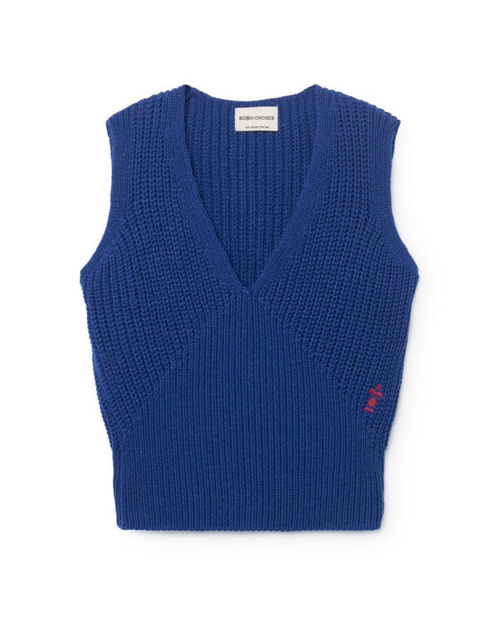 Little bobo choses girl 2-3 blue b.c. knitted vest