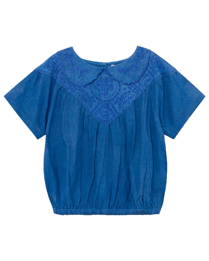 Little bobo choses girl embroidery short sleeve blouse