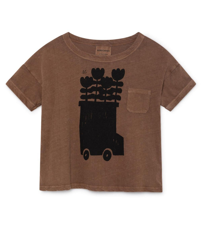 Little bobo choses boy 2-3 flower bus linen t-shirt