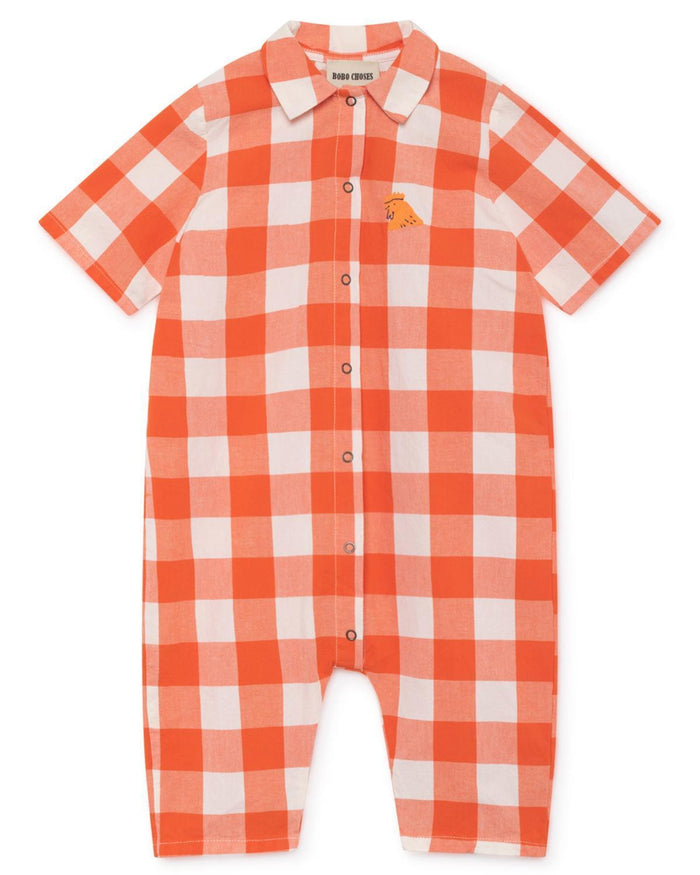 Little bobo choses baby boy 3-6 vichy buttons baby playsuit
