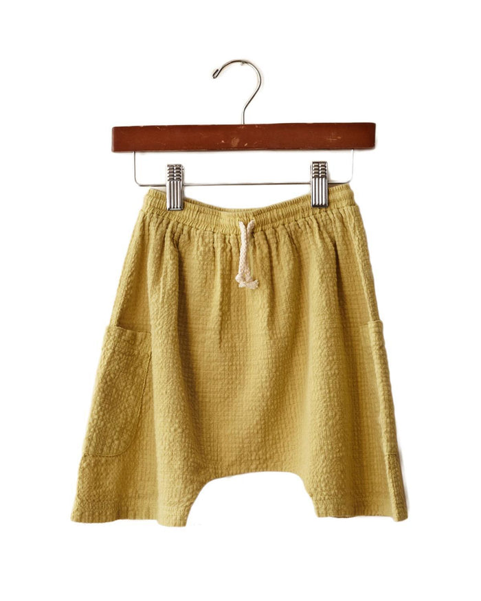 Little boy + girl boy 2 basketball short in mustard