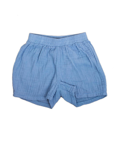 Little boy + girl boy 2 gym short in cornflower