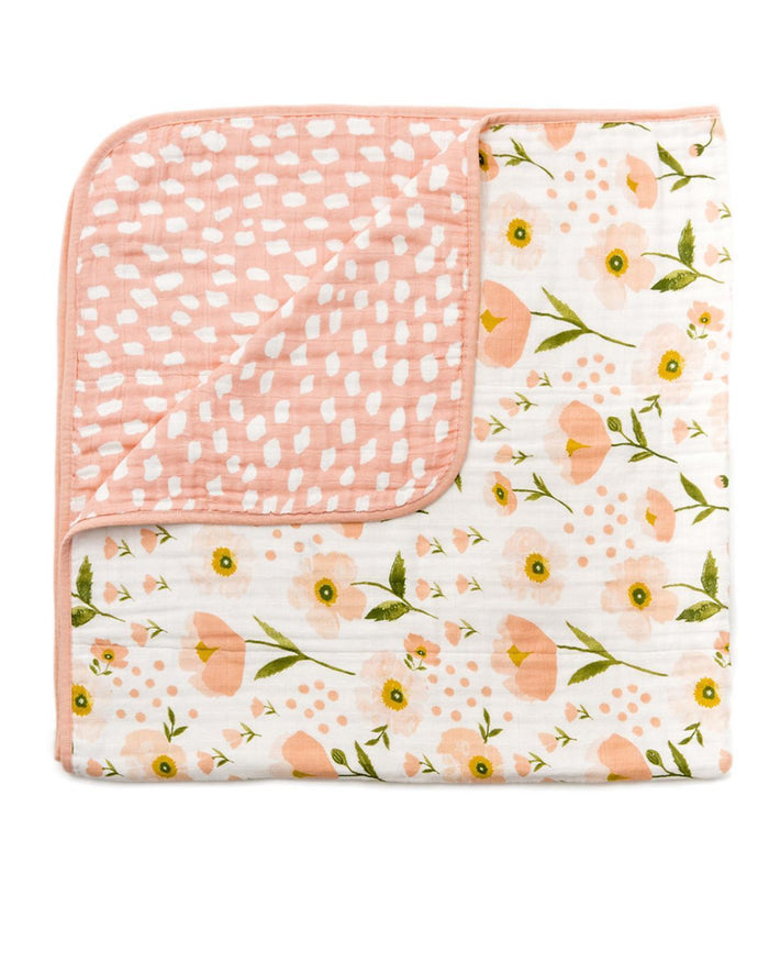 Little clementine kids room Blush Bloom Reversible Quilt