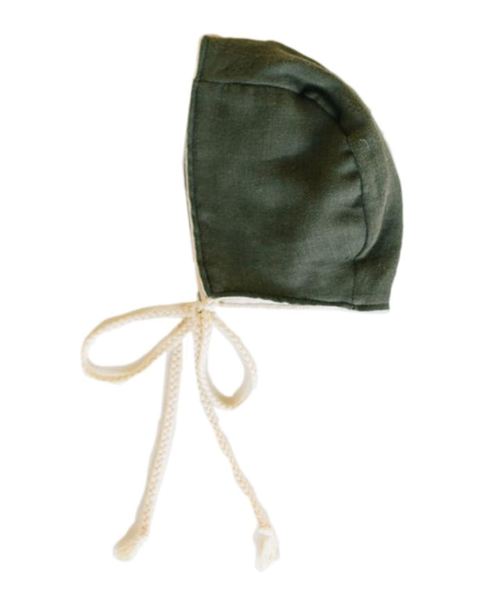 Little clementine kids baby accessories heirloom bonnet in deep olive