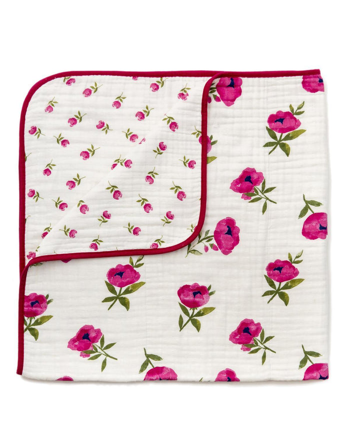 Little clementine kids room Raspberry Peony Reversible Quilt