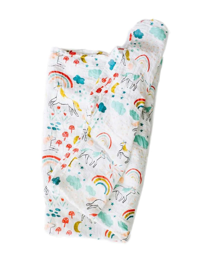 Little clementine kids baby accessories unicorn land swaddle