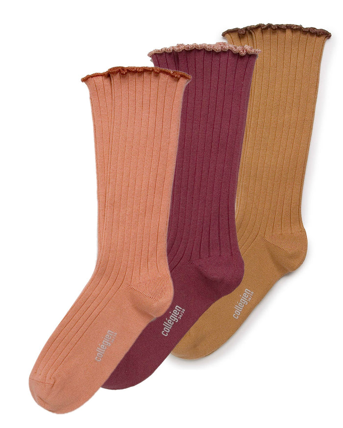 Little collegien accessories 3 pack lettuce trim socks in caramel au beurre salé + châtaigne + bois de rose