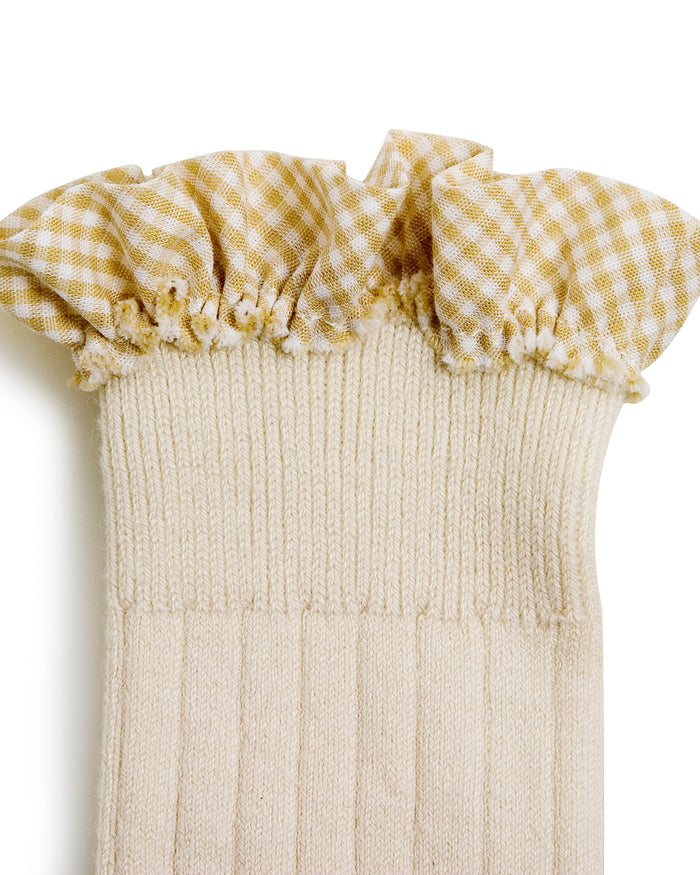 Little collegien accessories gingham ruffle knee highs in doux agneaux
