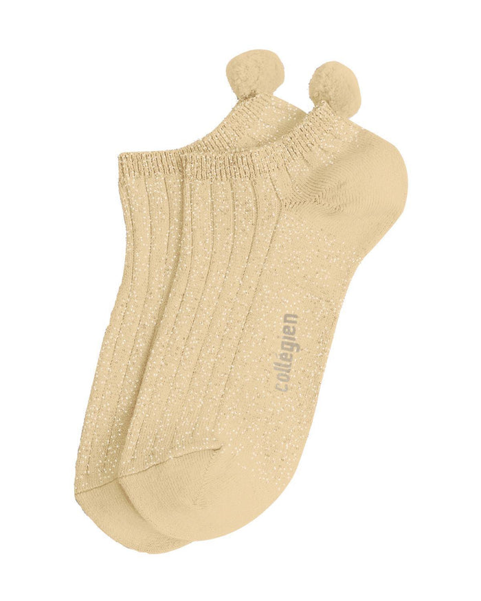 Little collegien accessories 24/27 glittery pom pom socks in dune pyla