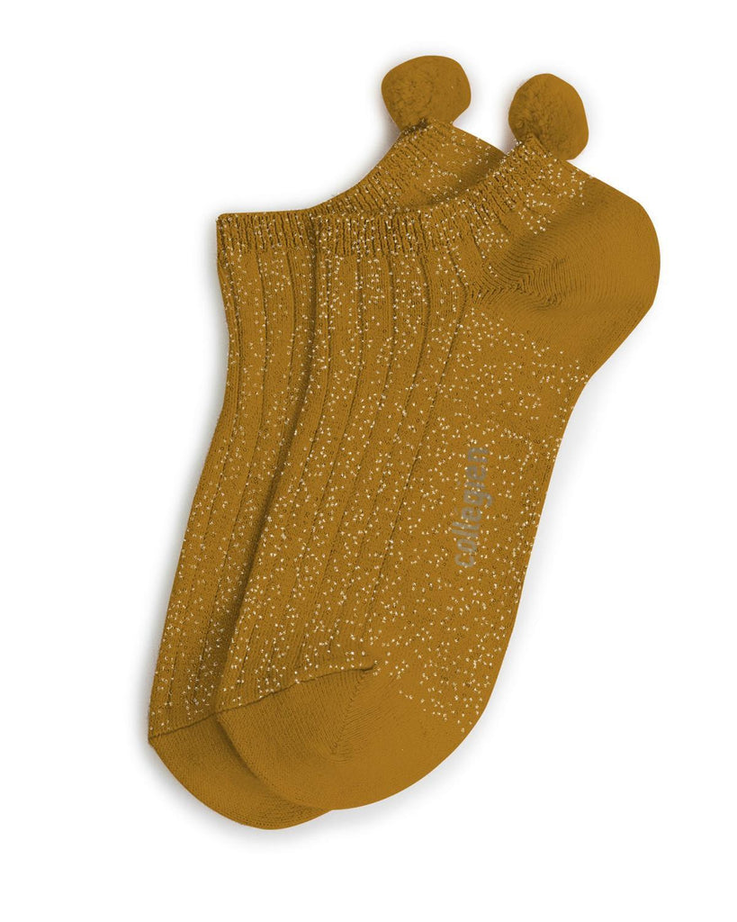 Little collegien accessories 24/27 glittery pom pom socks in moutarde de dijon