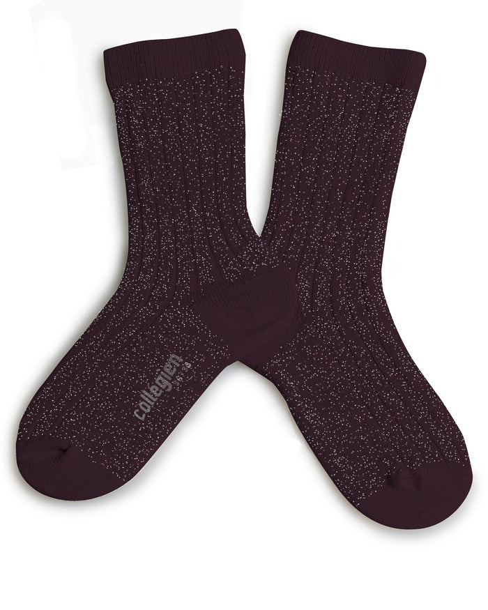 Little collegien accessories glittery socks in aubergine