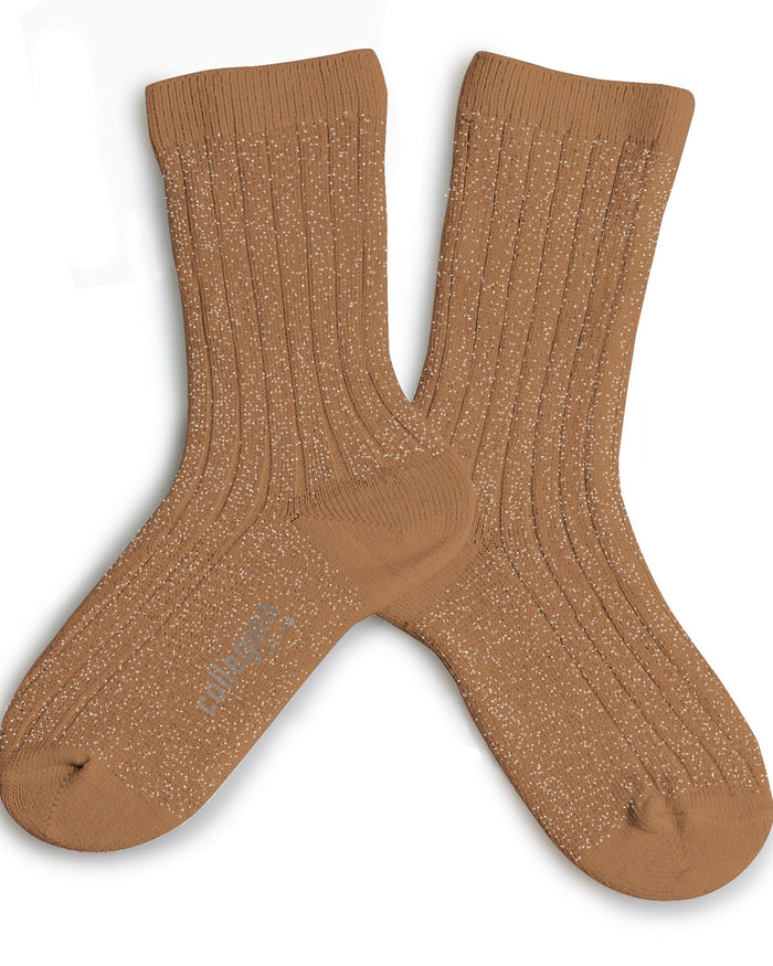 Little collegien accessories glittery socks in caramel au beurre salé