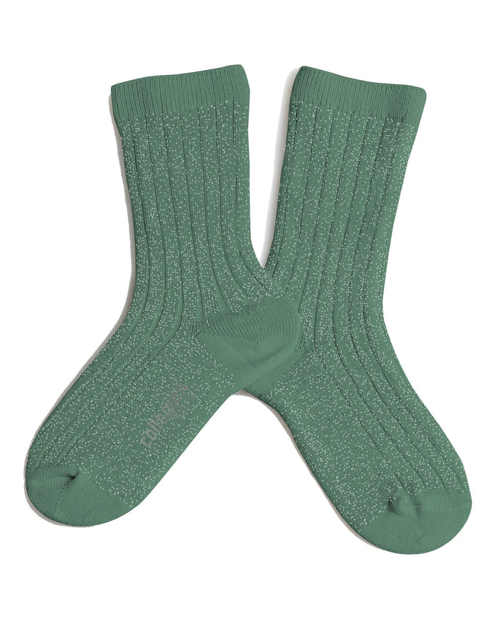Little collegien accessories glittery socks in celadon