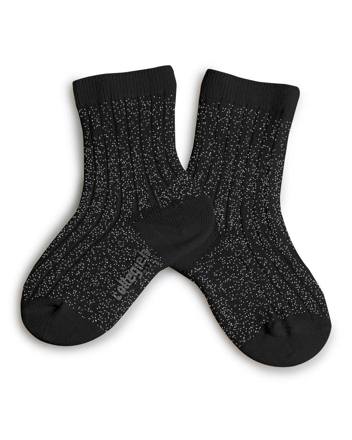 Little collegien accessories 18/20 glittery socks in noir charbon