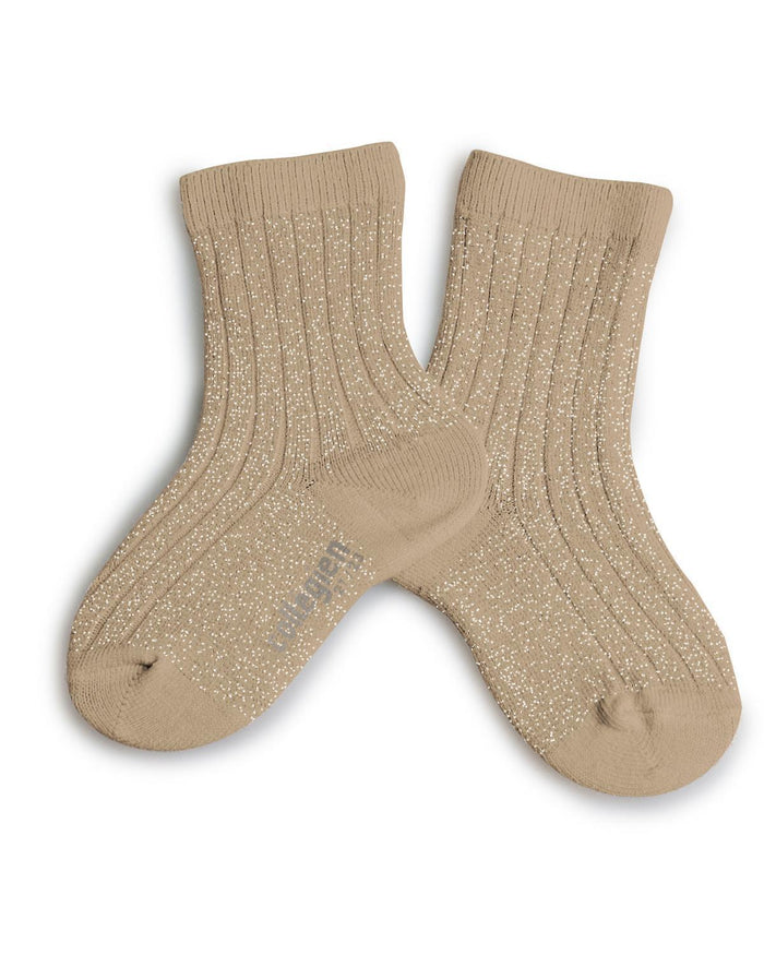Little collegien accessories 18/20 glittery socks in petite taupe