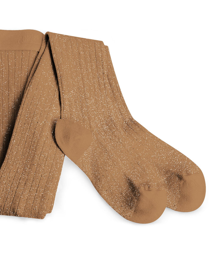 Little collegien accessories glittery tights in caramel au beurre salé