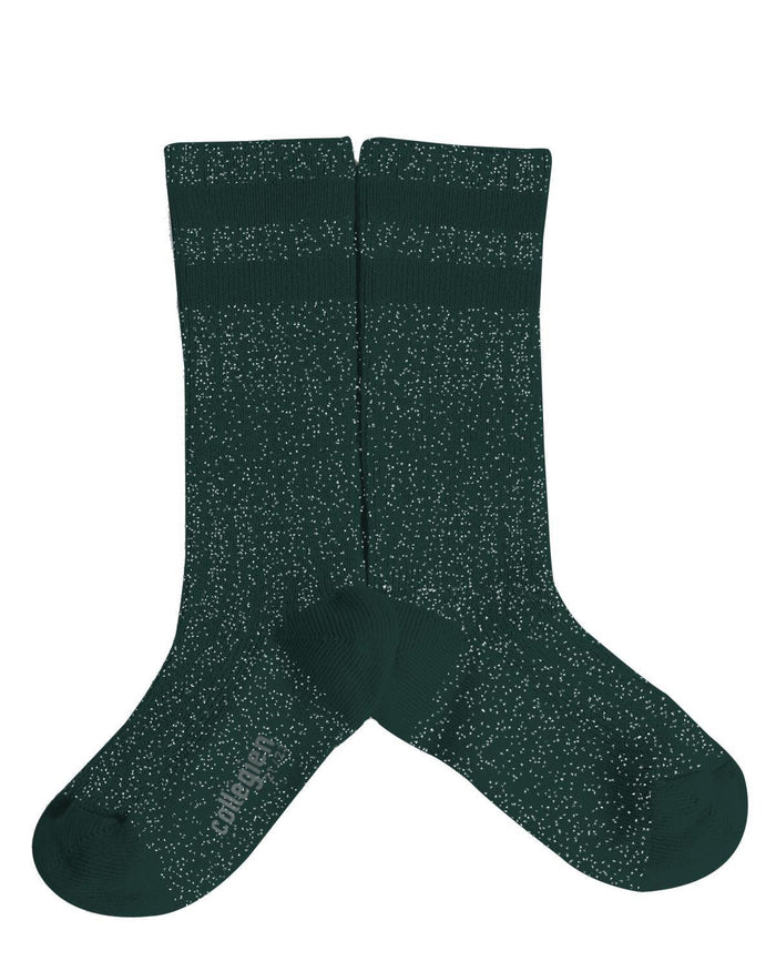 Little collegien accessories 18/20 glittery varsity knee high socks in fond marin