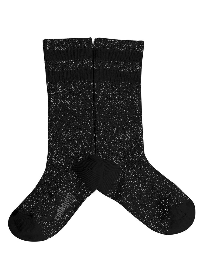 Little collegien accessories 18/20 glittery varsity knee high socks in noir charbon