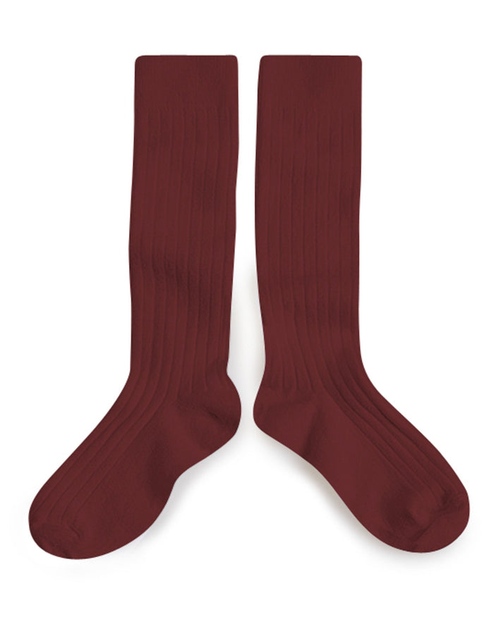 Little collegien accessories plain ribbed knee high socks in châtaigne