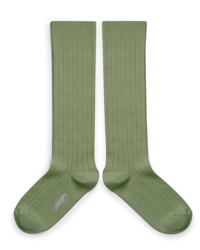 Little collegien accessories plain ribbed knee high socks in sauge
