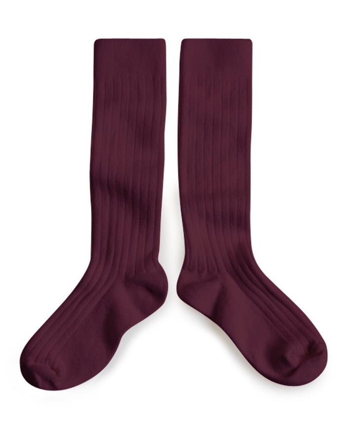 Little collegien accessories 18/20 ribbed knee high socks in aubergine