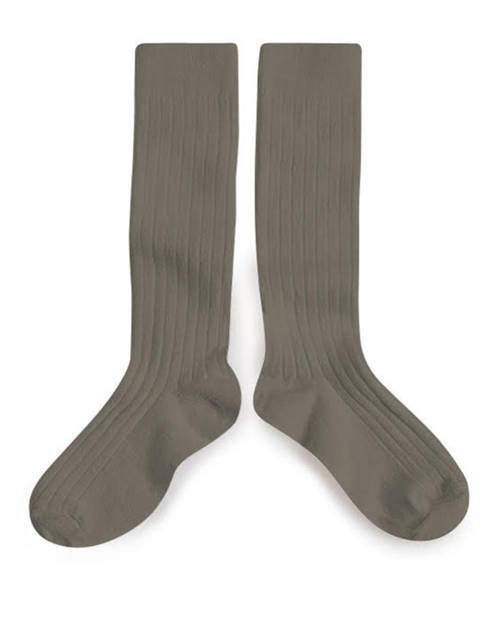 Little collegien accessories 18/20 ribbed knee high socks in brun de terre