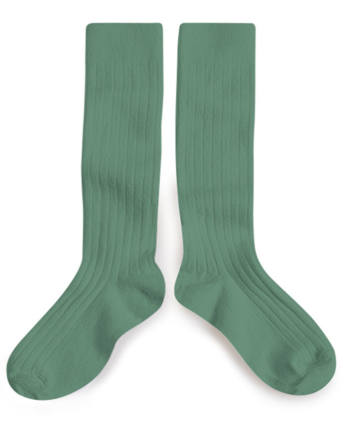 Little collegien accessories ribbed knee high socks in celadon