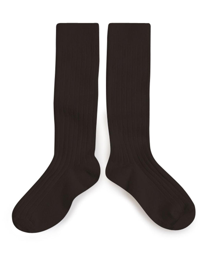 Little collegien accessories 18/20 ribbed knee high socks in grain de cafe