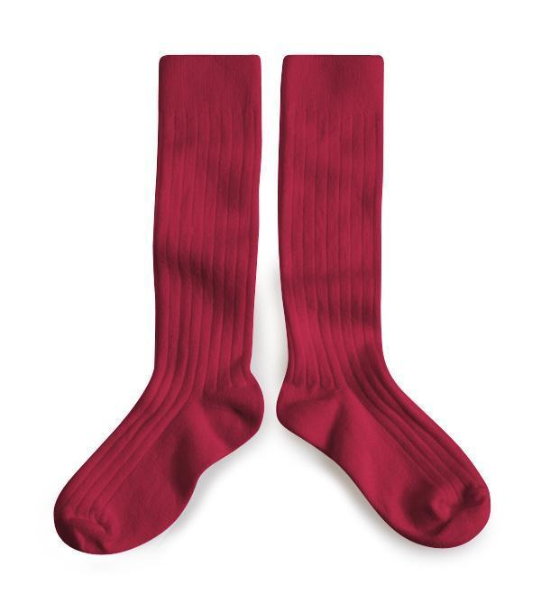 Little collegien accessories 18/20 ribbed knee high socks in marsala