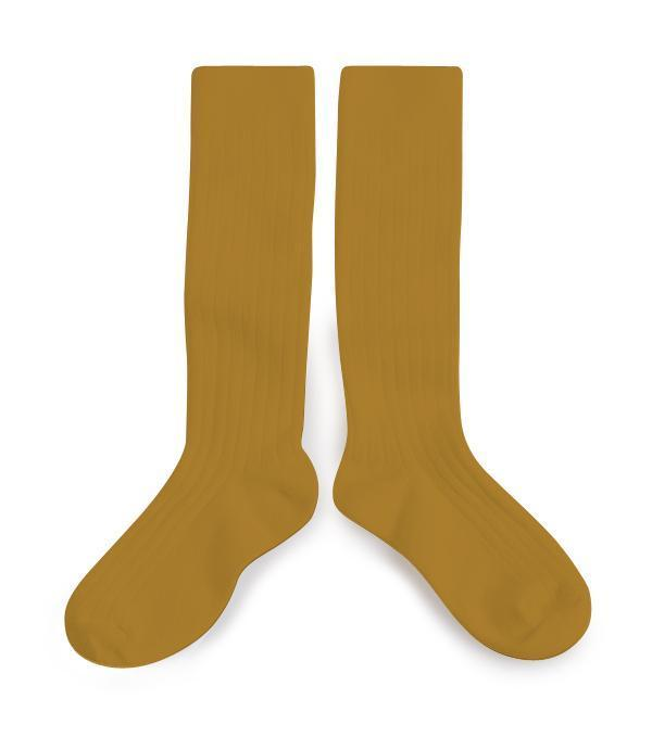 Little collegien accessories 18/20 ribbed knee high socks in moutarde de dijon