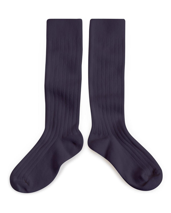 Little collegien accessories 18/20 ribbed knee high socks in nuit etoilee