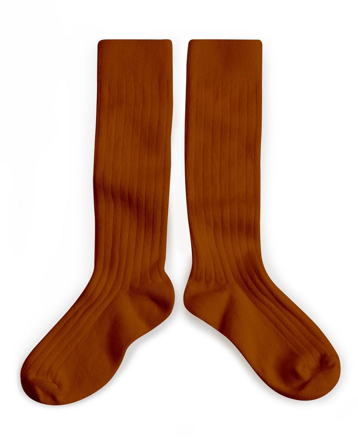 Little collegien accessories 18/20 ribbed knee high socks in pain d'epice