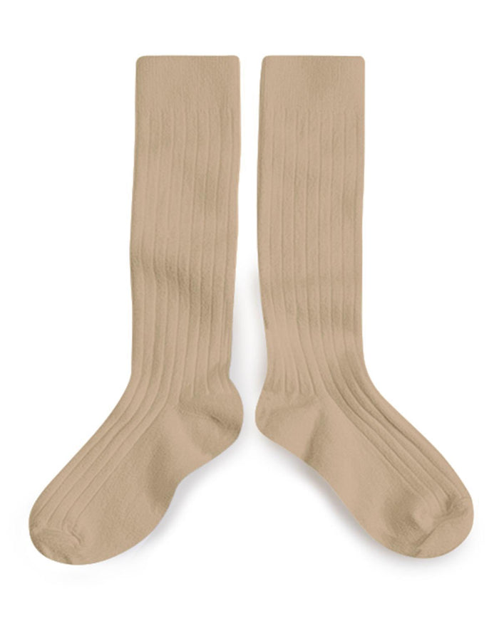 Little collegien accessories 18/20 ribbed knee high socks in petite taupe