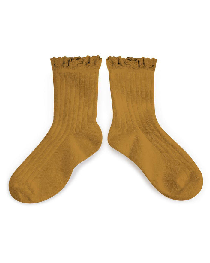 Little collegien accessories 18/20 ruffle trim ankle socks in moutarde de dijon