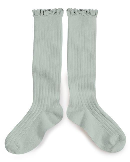 Little collegien accessories ruffle trim knee high socks in aigue marine