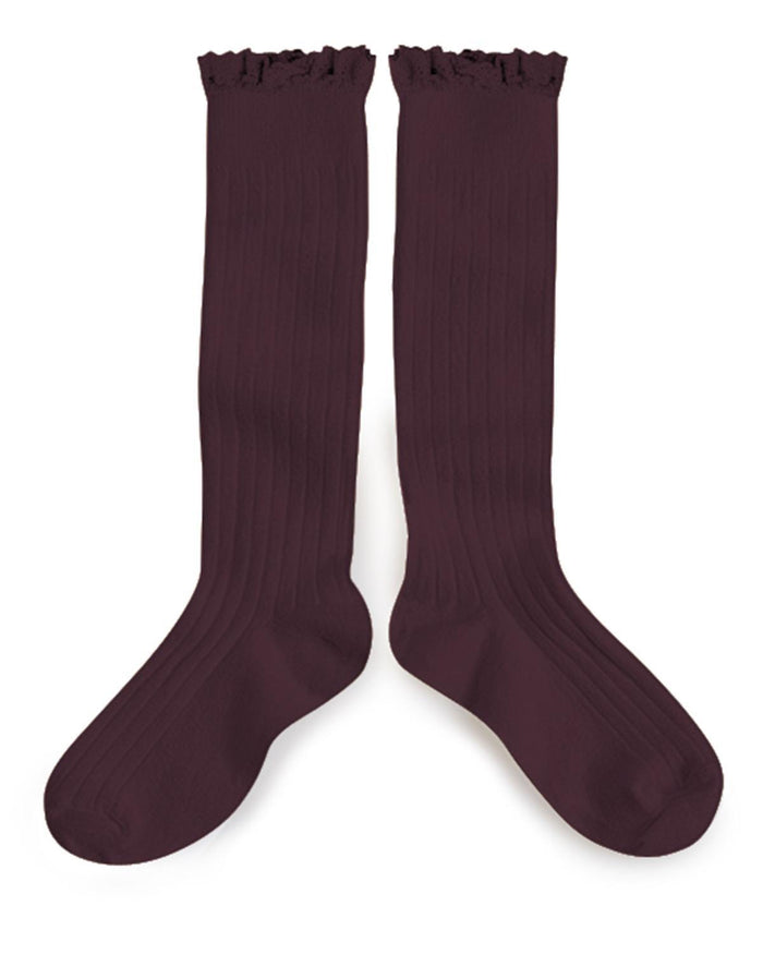 Little collegien accessories 18/20 ruffle trim knee socks in aubergine