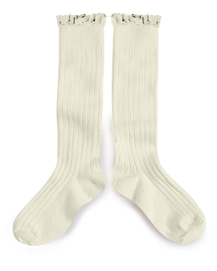 Little collegien accessories 18/20 ruffle trim knee socks in doux agneaux