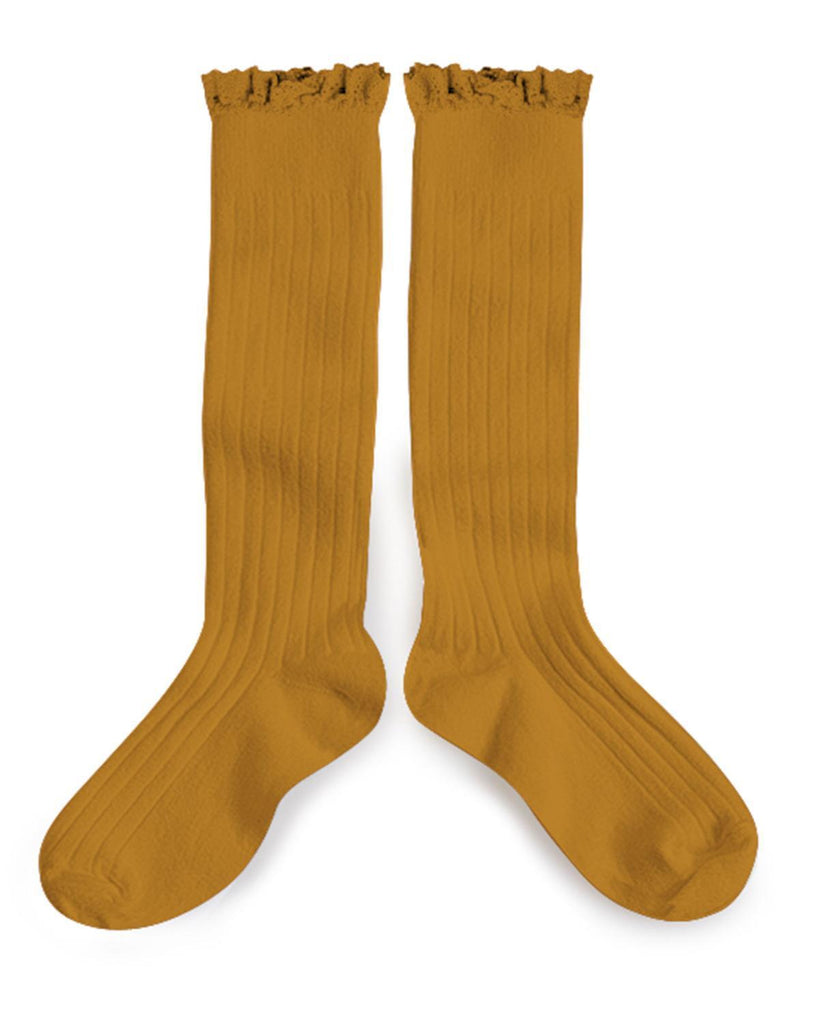 Little collegien accessories 18/20 ruffle trim knee socks in moutarde de dijon