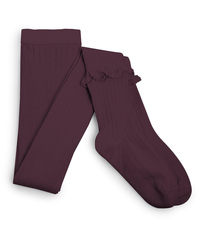 Little collegien accessories ruffle trim ribbed tights in aubergine
